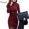TANGNEST 2016 New Spring Women OL Brief Elegant Solid Color Mini Style Dress Long Sleeve Turtleneck Vestidos Dresses WQL1871