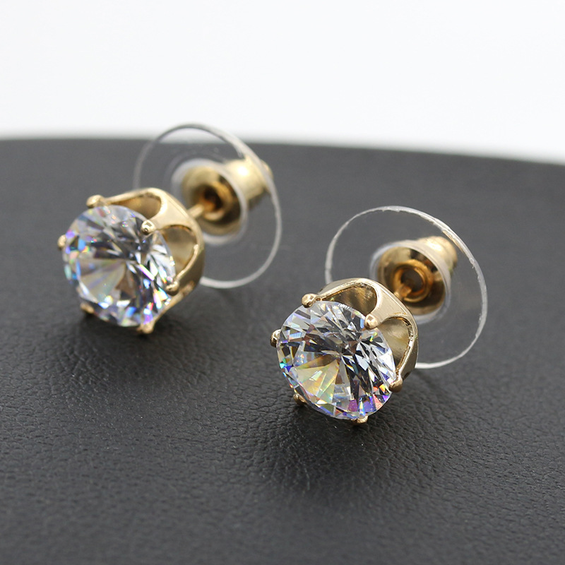 Fashion Jewelry Round 2 Carat Cubic Zirconia Silver Plated Stud Earrings for Women