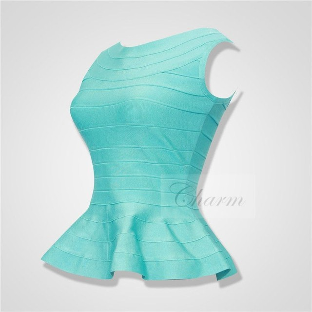 New Top Quality Bandage Tank Tops Pink Red Yellow White Sky Blue Beige Sexy Ruffles Bodycon Women Crop Top Shirt Wholesale