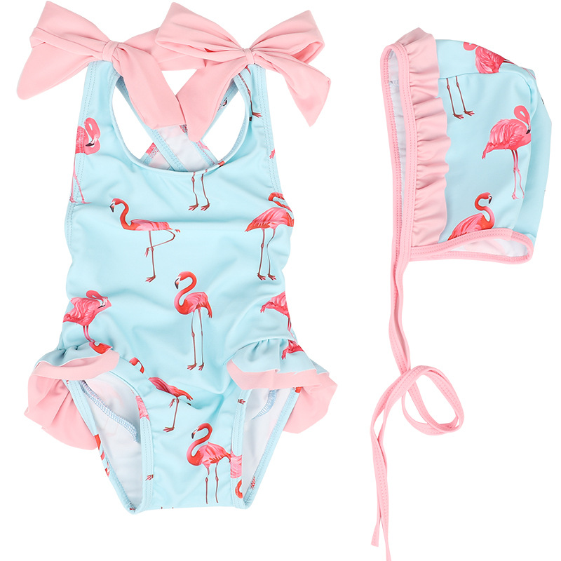 2019 Summer Swimsuit Kids Baby Girls Floral Swimwear Flamingo Swimsuit Bathing Beachwear Jumpsuit Swimsuit+Hat Sun Protect 1-6T