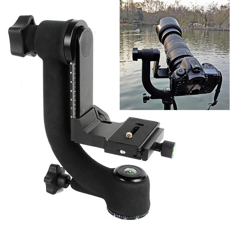 Mayitr 360 Degree Vertical Pro Gimbal Tripod Head 1/4 Screw Panoramic Quick Release Plate For DSLR Camera Telephoto Lens