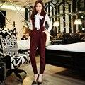 Original 2016 Brand Full Pants England Style Autumn Winter Slim Waist Vintage Elegant Women Overalls Wholesale