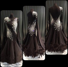 Черное платье для танца на заказ, современный стиль Платье для танцев sociale