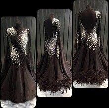 Black custom modern dance dress  Moderne Waltz Standaard Concurrentie Strass Jurk. . sociale dance dress