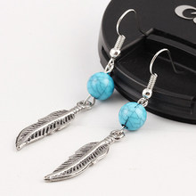 SUKI Vintage Feather Drop Earrings for Women Bijoux Boho Ethnic Turquoises Antique Silver Long Earring Fashion Jewelry Gifts(China)