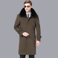 High Quality Men Wool Coat Plus Velvet Thicken Macho Business Casual Long Cashmere Winter Outerwear 2018 Large size Male Jacket