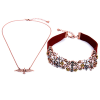 Wide Red Leather Suede Necklace Choker Antique Rose Gold Bird Floral Maxi Collar