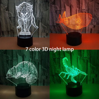 Cute Desk Lamps Whale Night Light Baby Animal Chameleon Luminaria 3D Lamp Bedside Table Lamp USB Electronic Gadget Bedroom Lamp