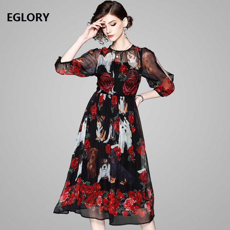 Sweet Cute Dress New 2018 Spring Summer Women Red Rose Flower Lovely Dog Print 3/4 Sleeve A-Line Black Silk Chiffon Dress Ladies кулоны подвески медальоны swarovski 5349219 page 2