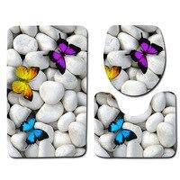 3pcs Bathroom Mat Set Beach Pattern Bath Mat Anti Slip Bathroom Rug Soft Foam Toilet Mat