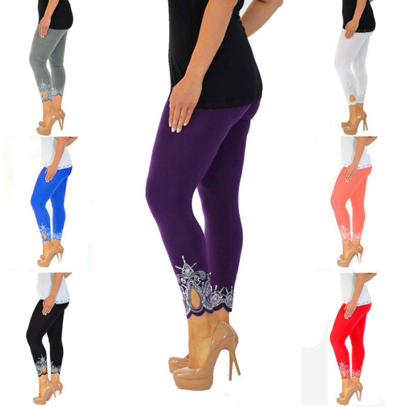 ZYFPGS Leggings For Women Cotton Embroidery Fitness Leggings Summer Knitting Slim Fit Hollow Solid Color Hot New Arrivals 2019