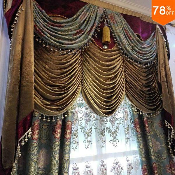 Motif de fleur d'étincelle 3D les rideaux classiques fleur rose sur draperie soyeuse verte rideaux de luxe de qualité Rideau fini