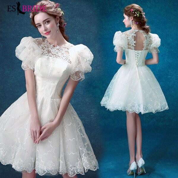 White Little Swan Vestidos De Fiesta De Noche Simple Lace Appliques Evening Dresses Short Evening Dress Robe De Soiree ES2197