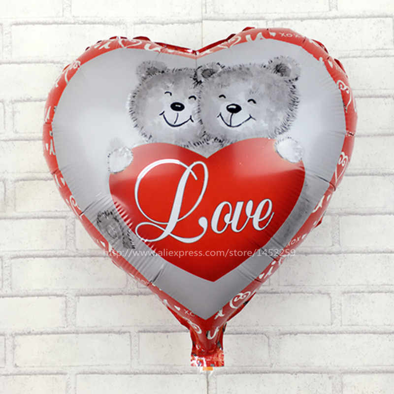 XXPWJ free shipping  18 Heart-shaped shaped balloons Winnie love children's toys wholesale holiday party birthday balloons C-007