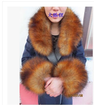 >Free shipping Copy the fox fur collar raccoon fur scarf collar article <font><b>wool</b></font> <font><b>top</b></font> <font><b>cap</b></font> dickie shawl sleeves two-piece outfit