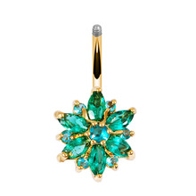 Green Flower Crystal Navel Belly Button Ring