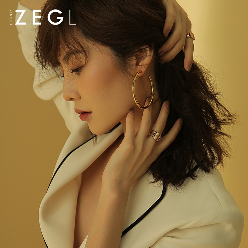 ZEGL hoop earrings metal earrings European and American earrings long fashion big earrings gold earrings female