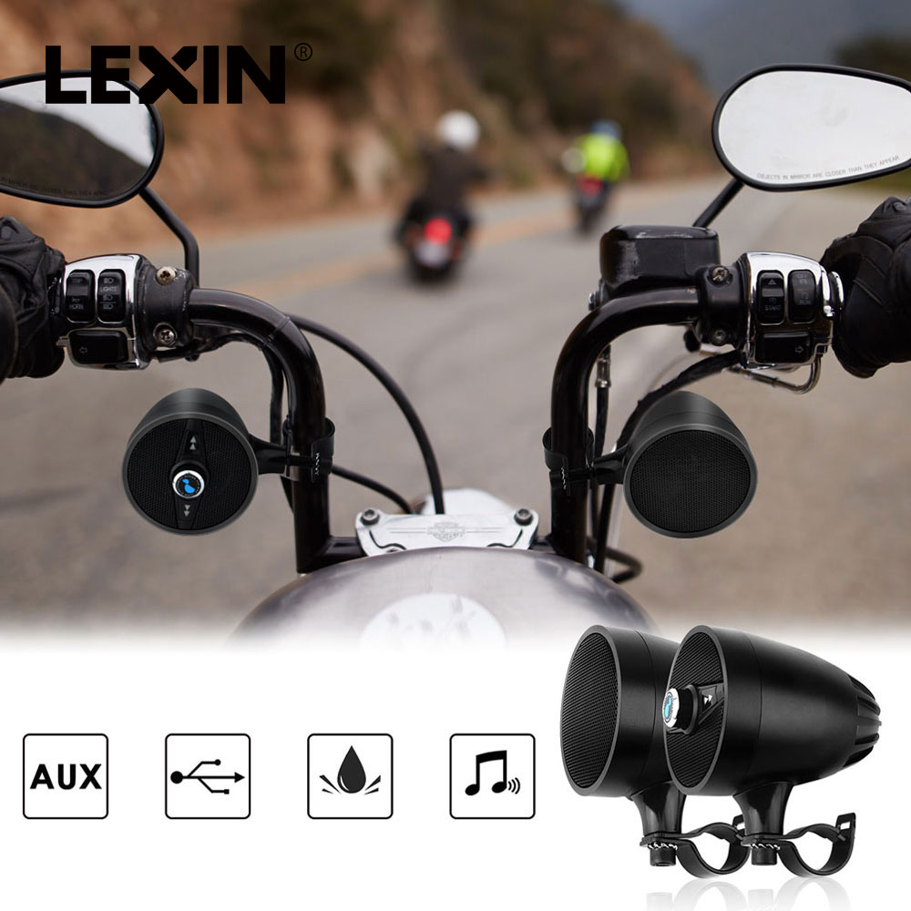 Lexin 2018 Super Music audio Player with FM Radio Tuner Bluetooth Speakers for Motorcycle Waterproof portable