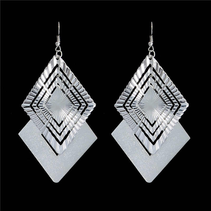 SHUANGR Punk Style Top Quality Fashion Design Silver Color Dangle Earrings for Women Fancy Earring