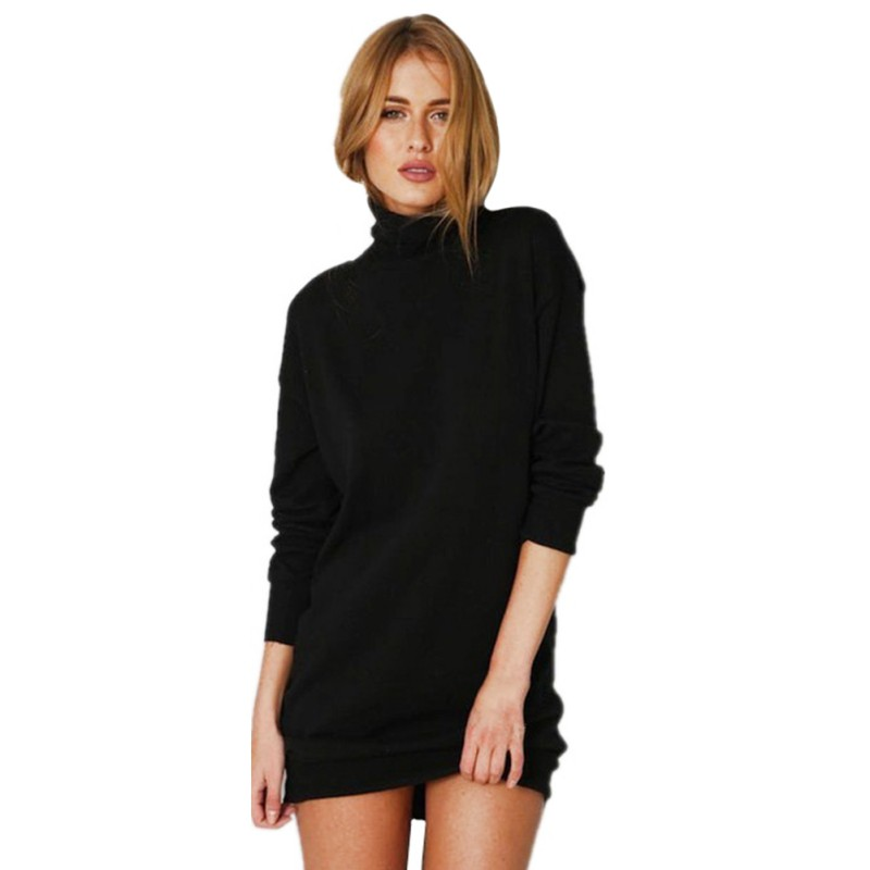 New Product Spring Winter Warm Stretch Dresses Vestidos Party Dresses Long Sleeve Knit BodyCon Slim Sweater Dress Black DQ09