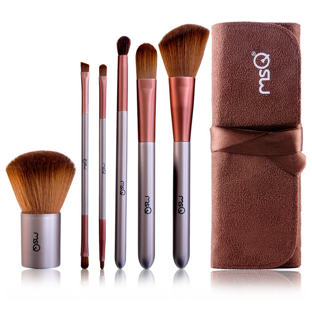 High Quality 6 Pcs MSQ Rayon Fibre Makeup Brush Kit Eye Face foundation Brushing Wooden Handle Cosmetic Tools блеск для губ msq 6 cristal led msq cc01 6