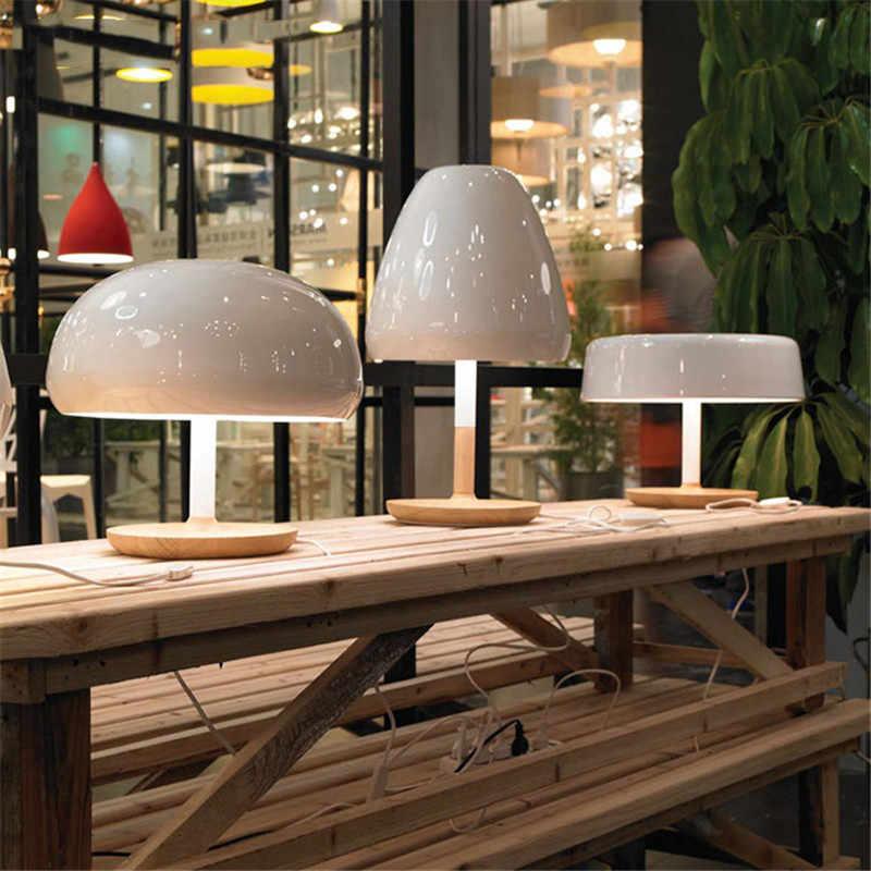 Винтаж белый гриб настольная лампа деревянная настольная лампа E27/E26 в ретро-стиле для дома Спальня отель прикроватный ночник Искусство настольная лампа с регулируемой яркостью E116