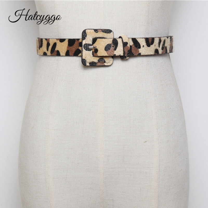 HATCYGGO Fashion Women's Belt  Horsehair Female Belts With Leopard Pattern Pants Jeans Belt Girl Autumn Winter Dress Accessories