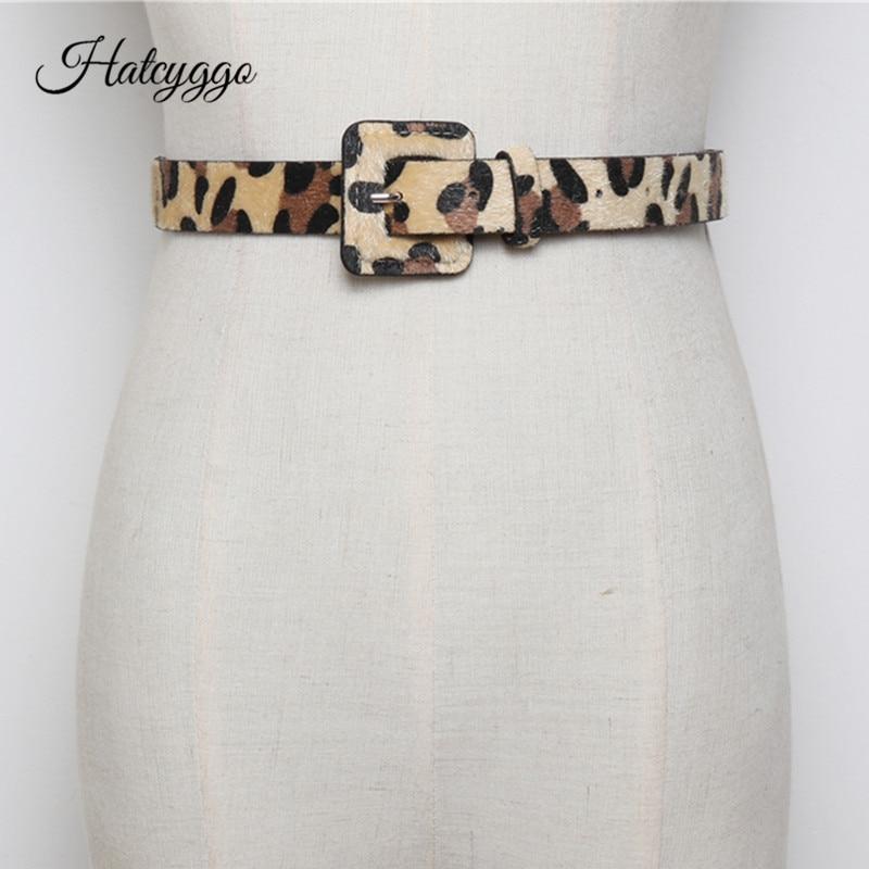 HATCYGGO de moda cinturón de mujer de crin mujer cinturones con el patrón de leopardo pantalones vaqueros cinturón chica vestido de otoño invierno Accesorios