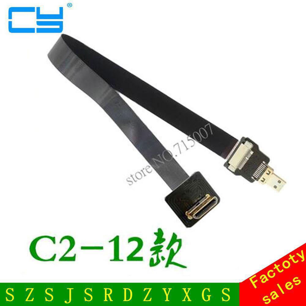 90 grader opp vinklet FPV mini HDMI mann til mikro HDMI mannlig FPC flat kabel for multicopter antennefotografi 5cm-100cm