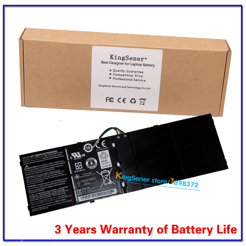 ФОТО KingSener Laptop Battery For Acer Aspire AP13B8K V5 M5-583P V5-572P V5-572G V5-573G V5-437 V5-452PG V5-472PG V5-552G AP13B3K