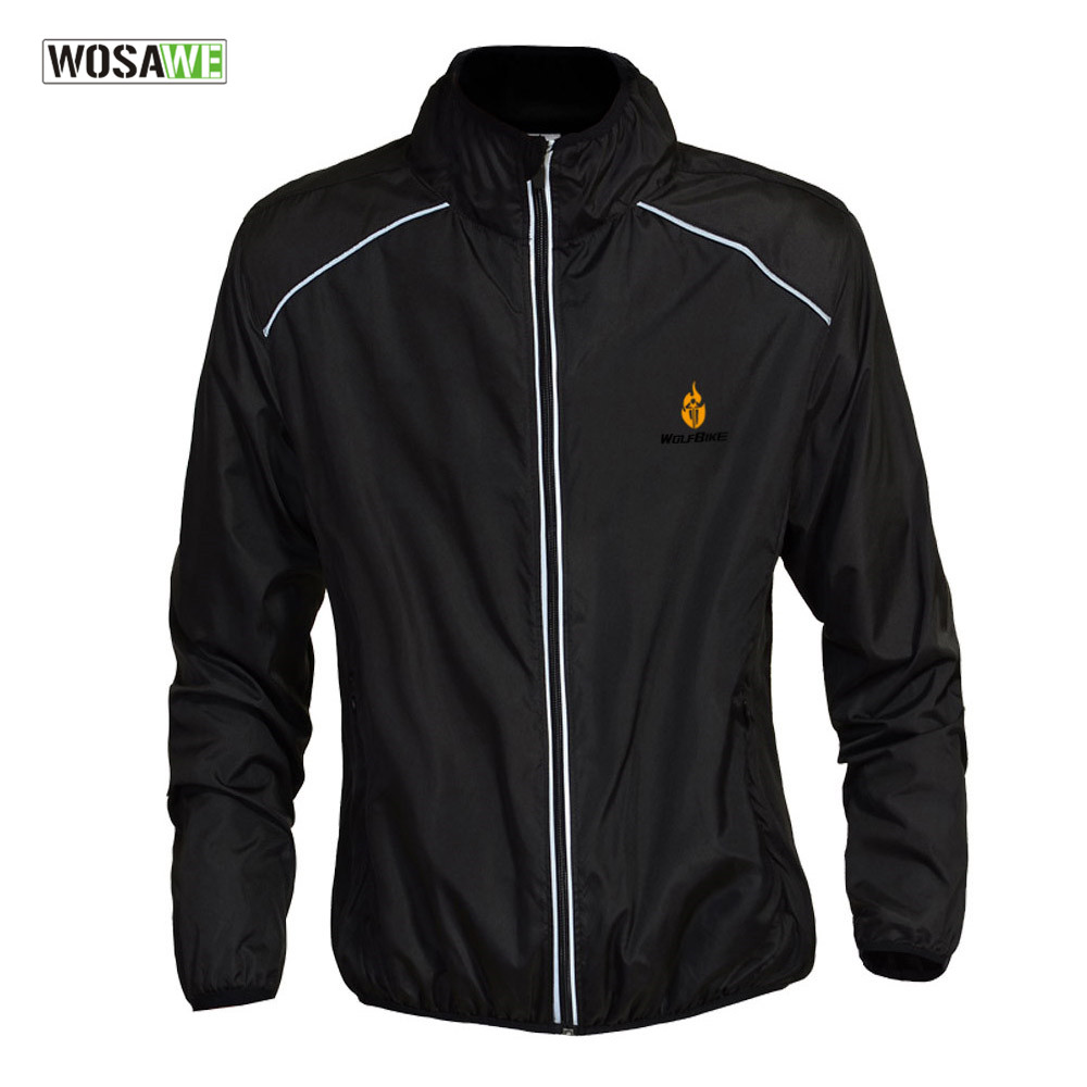 WOSAWE Water repellent Cycling Jerseys Sports Riding Reflective Jacket Cycle Clothing Long Sleeve Wind Coat 5 Colors Black