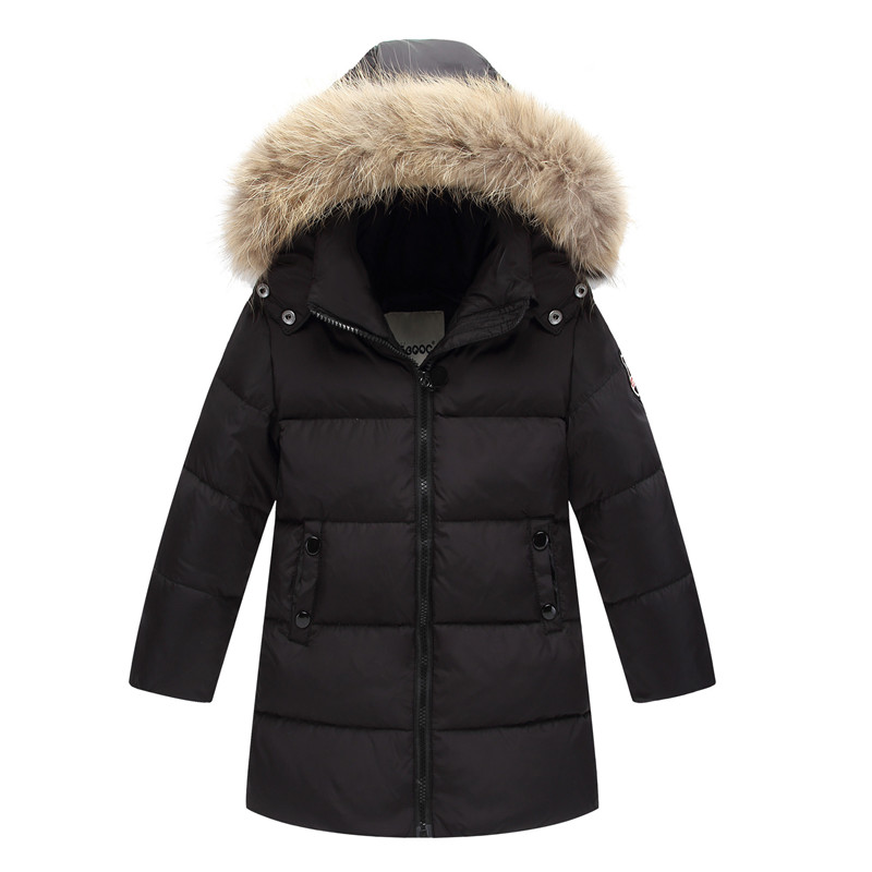 Kids clothes Down overcoat Girls thicken down coat Boys outerwear Warmed for winter long coat Raccoon Fur Collar 90 Duck down