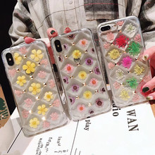 Fashion Cute Real Dried Flowers Lattice 3D Rivets Soft TPU Phone Case for iPhone 7 6 6S 8 Plus X XR XS Max Clear Back Cover Capa