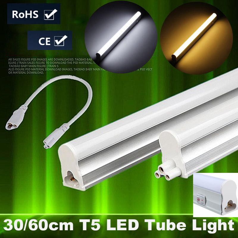 6W 10W T5 LED Light Tube Bulb Bar Light With Switch 2835 SMD 30cm 60cm Fluorescent Tube Lamp Warm Pure White Lighting AC85-265V 2pcs set t5 led light tube ac85 265v 2 5w wall lamps 1ft led t5 tube fluorescent lamp lights connect cord power switch cable