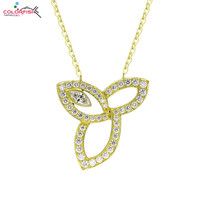COLORFISH Fashion Yellow Gold Color 925 Sterling Silver Lily Flower Pendant Necklace For Women Jewelry Marquise Pendant Necklace