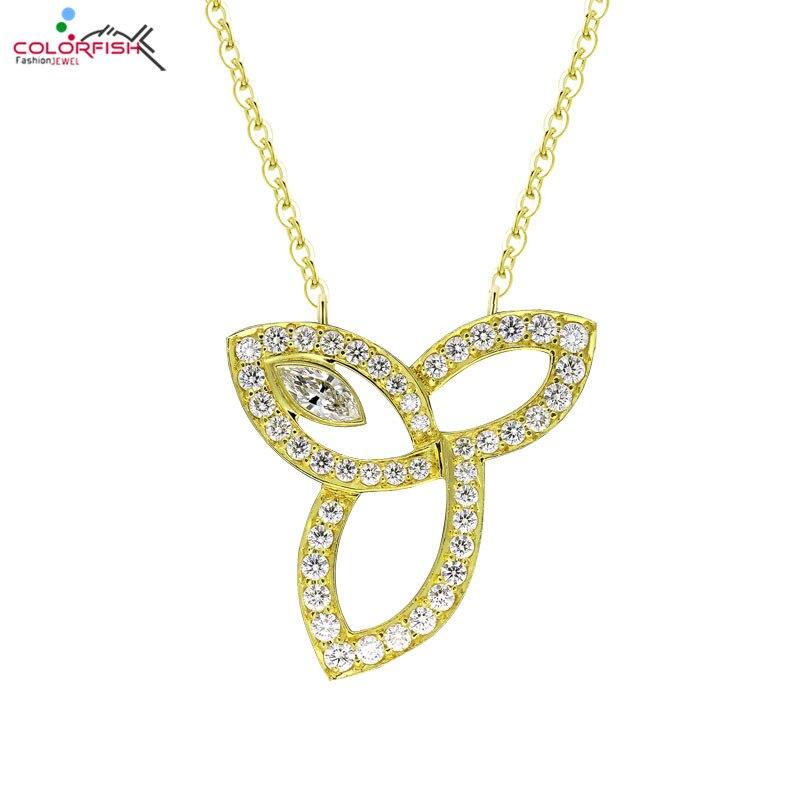 COLORFISH mode or jaune couleur 925 argent Sterling Lily fleur pendentif collier pour femmes bijoux Marquise pendentif collier