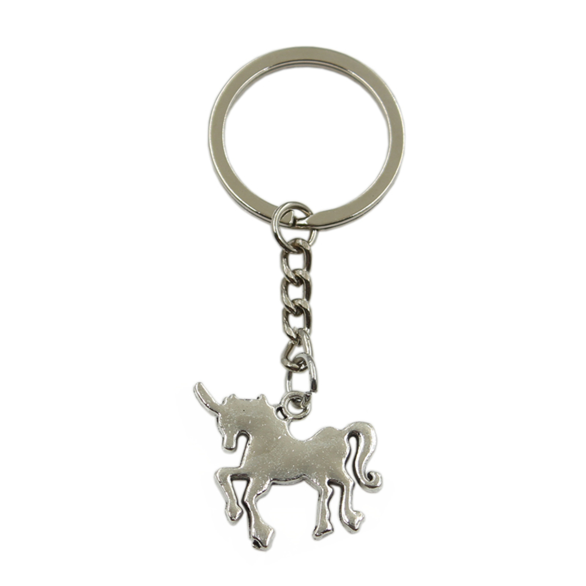New Hot Men Key Ring Metal Key Chain Keychain Gift Jewelry Silver Color Horse Unicorn Pendant Great Promotion