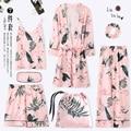 Пижама, весна, осень, с длинными рукавами, чистое хлопковое кимоно, ночные рубашки, комплект из семи предметов, летняя Зимняя Сексуальная Дом...
