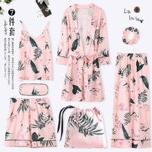 Pijamas, primavera, outono, mangas compridas, puro algodão, kimono, conjunto de camisola, sete peças, roupa caseira sexy do inverno do verão
