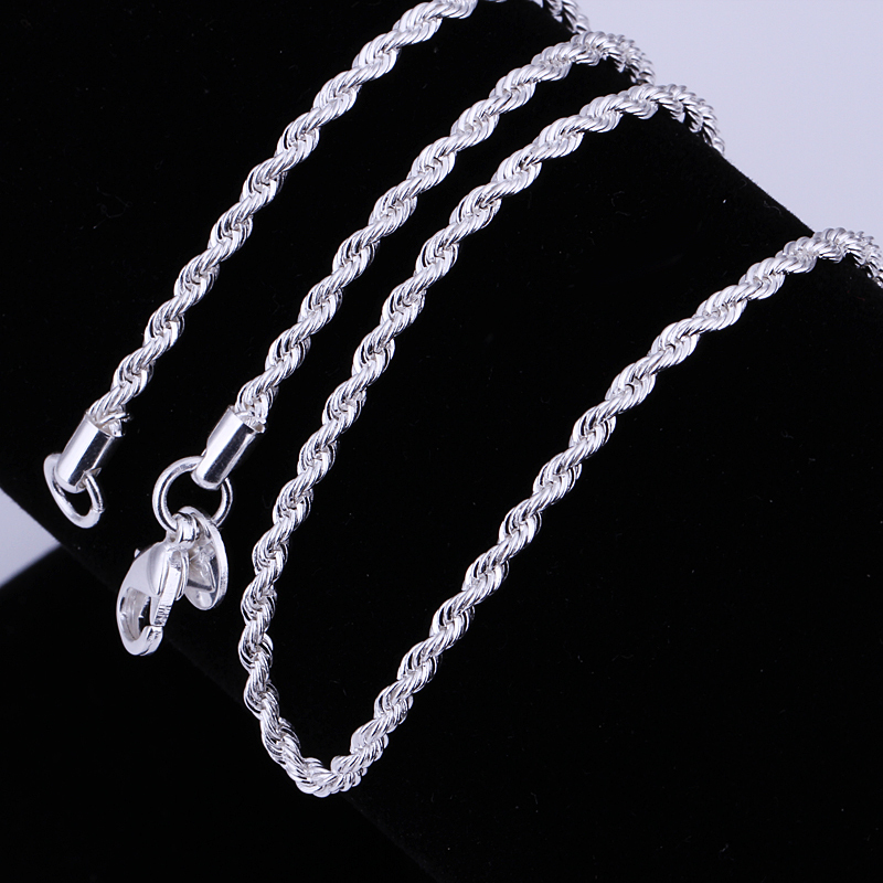 5pcs/lot Fashion silver necklace chain,2mm 925 Jewelry silver Plated Twisted Rope chain necklace 16-30,pick length! AN226 ...