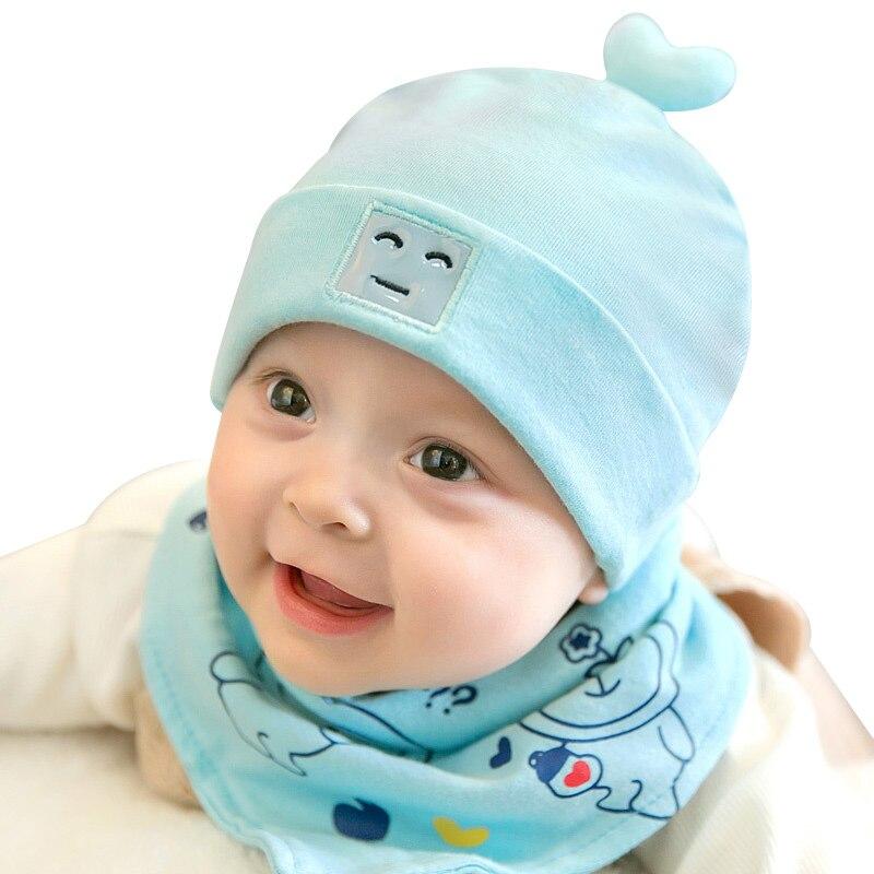 2PCS Cartoon Baby Hat Bib Sets Cotton Newborn Boy Girl Hat Scarf Baby Set Spring Autumn Newborn Beanie Hats Baby Boy Accessories