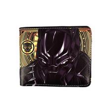 Marvel Movie Black Panther krótki portfel Marvels Avengers amerykański kapitan Batman Ironman Kid zabawka portmonetka tanie tanio The truth fashion Masz Chłopców Klasyczny Znaków Bez zamków błyskawicznych Standard Wallets Cartoon Printing Letter
