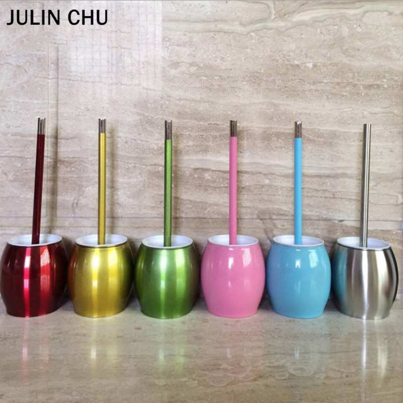 Mirror Stainless Steel WC Brush Holder Sets Blue Yellow Pink Red Green Stand Toilet Brush Holders Bathroom Accessories Creative
