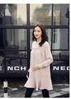 Fashion Maternity Dresses Lace Stitching Long Sleeve Pregnancy Dress Cotton Elegant Ruffles Clothing For Pregnant Women Autumn