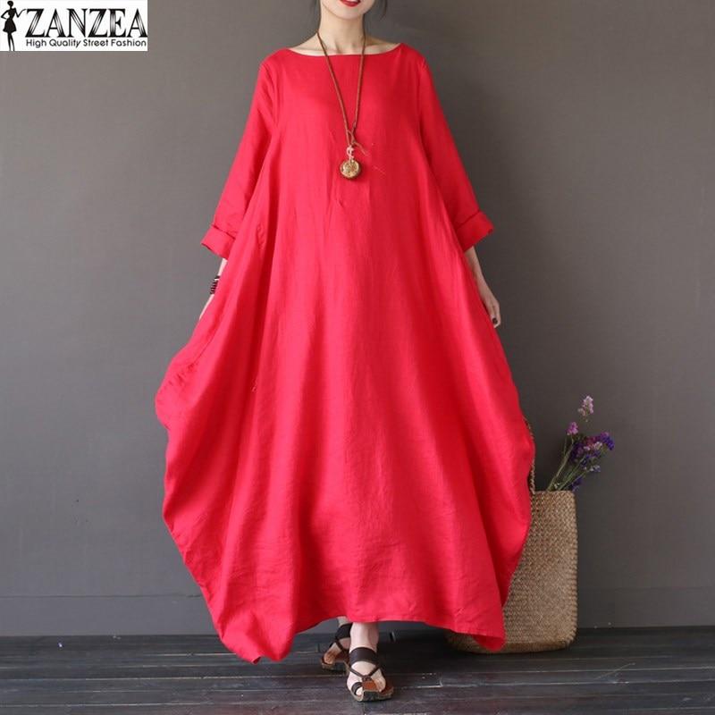 Casual Women Batwing Sleeve Shirt ZANZEA Dress Baggy Long Maxi Dress Plus Size
