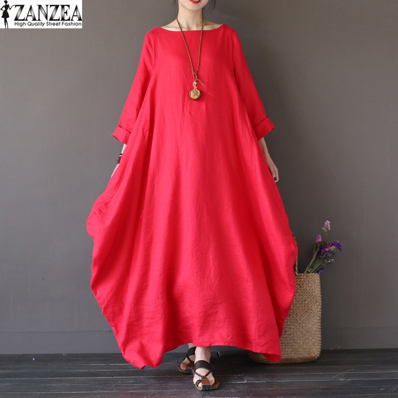 2018 ZANZEA Womens Crewneck 3/4 Sleeve Baggy Maxi Long Casual Party Shirt Dress Kaftan Solid Robe Vestido Plus Size