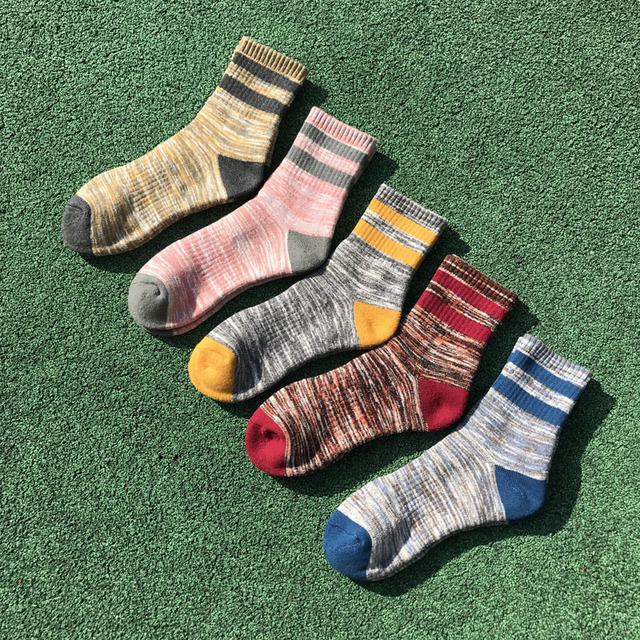 PEONFLY Men comfortable Casual Compression Socks Fashion Striped Splicing Color Socks Elasticity Breathable short Cotton Socks