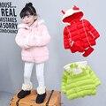 Invierno de los Bebés del Algodón Abajo Sólido Arco Niños Encapuchados Parkas Infantil Princesa Estilo de Nieve Desgaste prendas de Vestir Exteriores ropa muchachas de la Capa