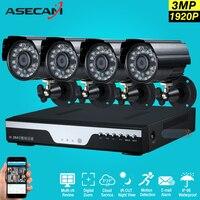 Супер 3mp HD 4 канала наблюдения 1920 P Главная Black Metal Пуля безопасности Камера h.264 dvr комплект открытый 4ch CCTV системы комплект