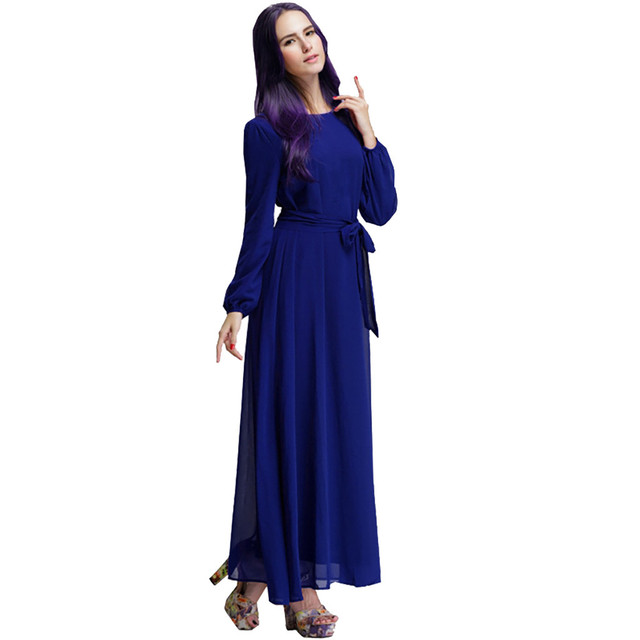 Women Fashion Elegant Muslim Plius Size Dresses Casual Solid O-Neck Ful Sleeve Chiffon Arab Islam Jilbab Dress z0415 1